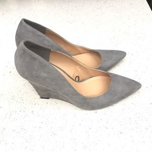 Express faux suede gray wedge pumps size 10